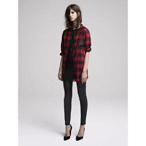 Maje Danette Leather Pocket Plaid Shirt